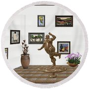 digital exhibition  Statue 24 of posing lady  Round Beach Towel