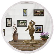 Round Beach Towel featuring the mixed media digital exhibition  Statue 25 of posing lady  by Pemaro