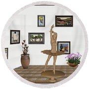 Digital Exhibition_statue Of My Dancing Girl Round Beach Towel