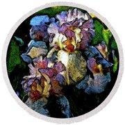 Digital Expressionist Painting Pale Pink Irises 6702 W_4 Round Beach Towel