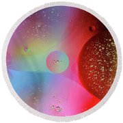 Round Beach Towel featuring the photograph Digital Oil Drop Abstract by John Williams