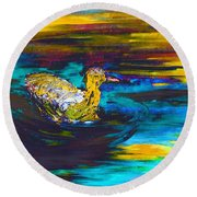 Round Beach Towel featuring the painting Digital Painterly Escape Iv by Lisa Kaiser