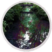 Digital Painting Hidden Woodland Stream 2864 Dp_2 Round Beach Towel