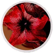 Digital Petunia Round Beach Towel