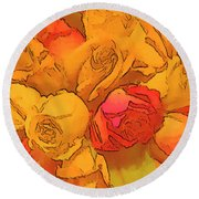 Digital  Rose Bouquet Painting Round Beach Towel