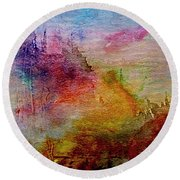 1a Abstract Expressionism Digital Painting Round Beach Towel
