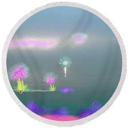 Digital Sunrise Round Beach Towel
