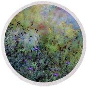 Digital Watercolor Field Of Wildflowers 4064 W_2 Round Beach Towel