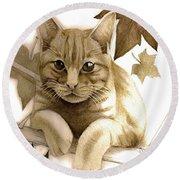 Digitally Enhanced Cat Image Round Beach Towel