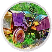 Dilapidated Tractor Round Beach Towel