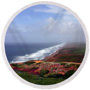Flowering Beach Point Reyes Lighthouse Bodega Bay Round Beach Towel