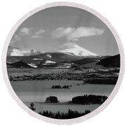 Round Beach Towel featuring the photograph Dillon In Winter Bw by Marie Leslie