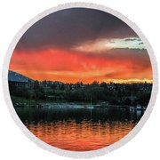 Dillon Marina At Sunset Round Beach Towel