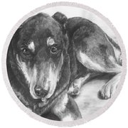 Round Beach Towel featuring the drawing Dillon by Meagan  Visser