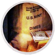 Dimes Dollars And Gold Round Beach Towel