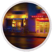 Diner At Night Round Beach Towel