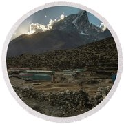 Round Beach Towel featuring the photograph Dingboche Evening Sunrays by Mike Reid