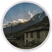 Round Beach Towel featuring the photograph Dingboche Nepal Sunrays by Mike Reid
