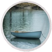 Round Beach Towel featuring the photograph Dinghy by Guy Whiteley