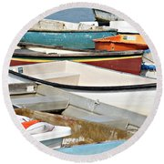 Dinghys At Bearskin Neck Round Beach Towel