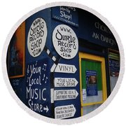 Dingle Record Shop Round Beach Towel by Melinda Saminski