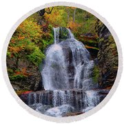 Dingmans Falls In Autumn 2 Round Beach Towel by Raymond Salani III