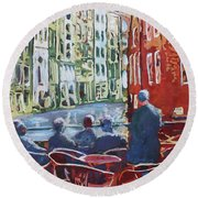 Dining Canalside Round Beach Towel