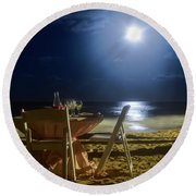 Dinner For Two In The Moonlight Round Beach Towel