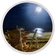 Round Beach Towel featuring the photograph Dinner For Two In The Moonlight by Nicole Lloyd