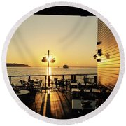 Dinner On The Water Round Beach Towel