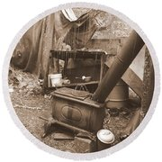 Round Beach Towel featuring the photograph Dinner Will Have To Wait by Marie Neder