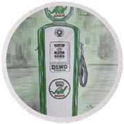 Dino Sinclair Gas Pump Round Beach Towel