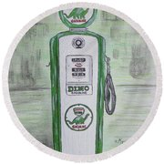 Dino Sinclair Gas Pump Round Beach Towel by Kathy Marrs Chandler