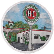 Dino Sinclair Gas Station Round Beach Towel by Kathy Marrs Chandler