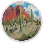 Round Beach Towel featuring the painting Dinosaur Mountain by Diane McClary