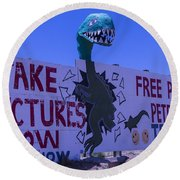 Dinosaur Sign Take Pictures Now Round Beach Towel