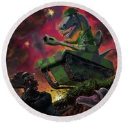 Round Beach Towel featuring the painting Dinosaur War 01 by Martin Davey
