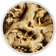 Dinosaurs In A Bone Display Round Beach Towel