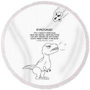 Round Beach Towel featuring the drawing Dinosaurs by John Haldane