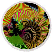 Round Beach Towel featuring the digital art Dintroutio by Andrew Kotlinski