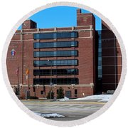 Round Beach Towel featuring the photograph Diocese Of Toledo In Winter by Michiale Schneider