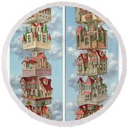 Diptych Air Castles Round Beach Towel