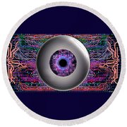 Round Beach Towel featuring the digital art Direct Link by Iowan Stone-Flowers
