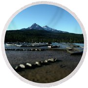 Round Beach Towel featuring the photograph Directional Points by Laddie Halupa