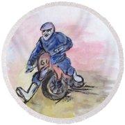 Dirt Bike Racer Round Beach Towel