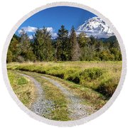 Dirt Road To Mt Rainier Round Beach Towel by Rob Green