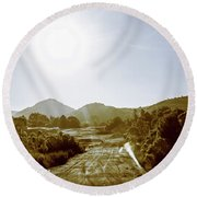 Dirt Roads Of Outback Tasmania Round Beach Towel
