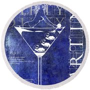 Dirty Dirty Martini Patent Blue Round Beach Towel