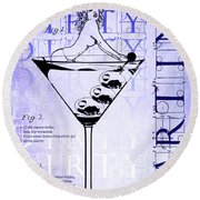 Dirty Dirty Martini Patent Blueprint Round Beach Towel by Jon Neidert