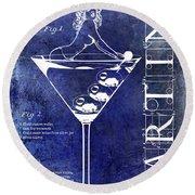Dirty Martini Patent Blue Round Beach Towel by Jon Neidert